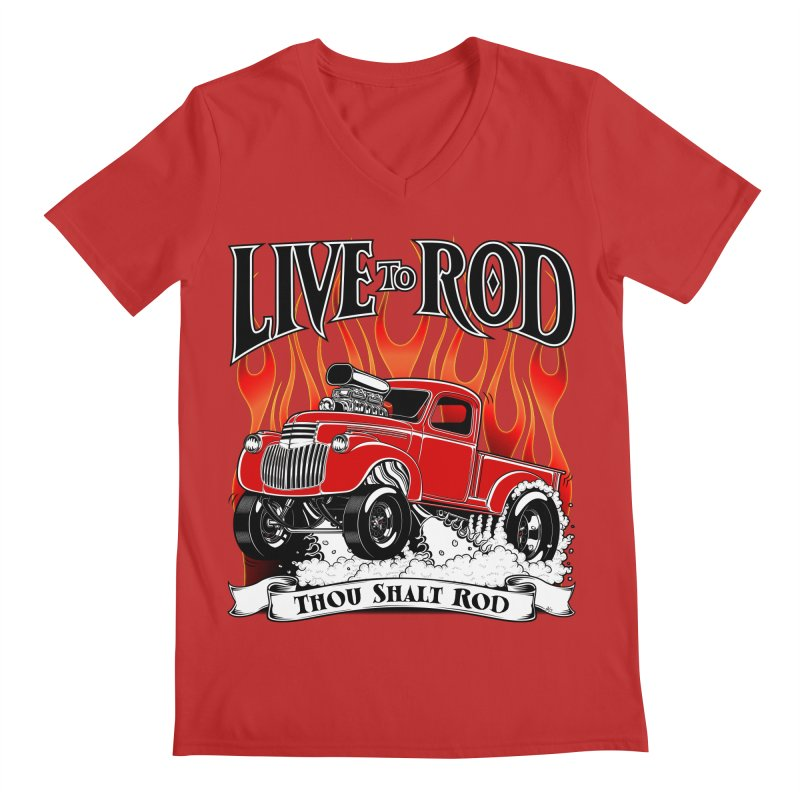 46' Chevy Gasser Pickup - RED Men's Regular V-Neck by screamnjimmy's Artist Shop
