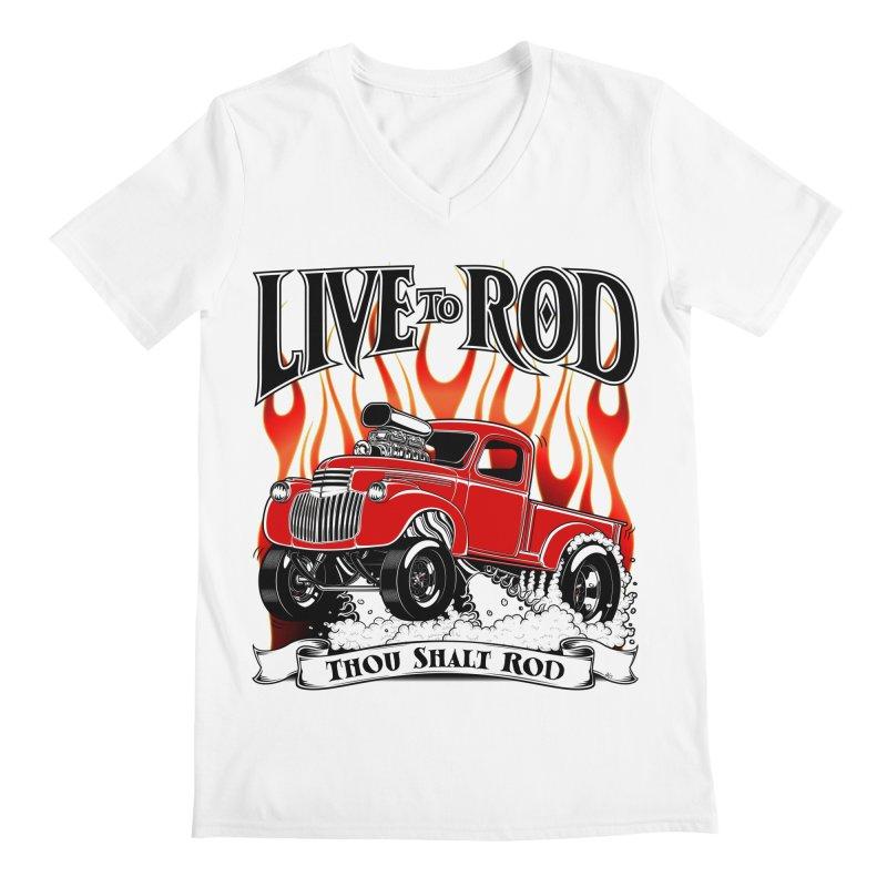 46' Chevy Gasser Pickup - RED Men's V-Neck by screamnjimmy's Artist Shop