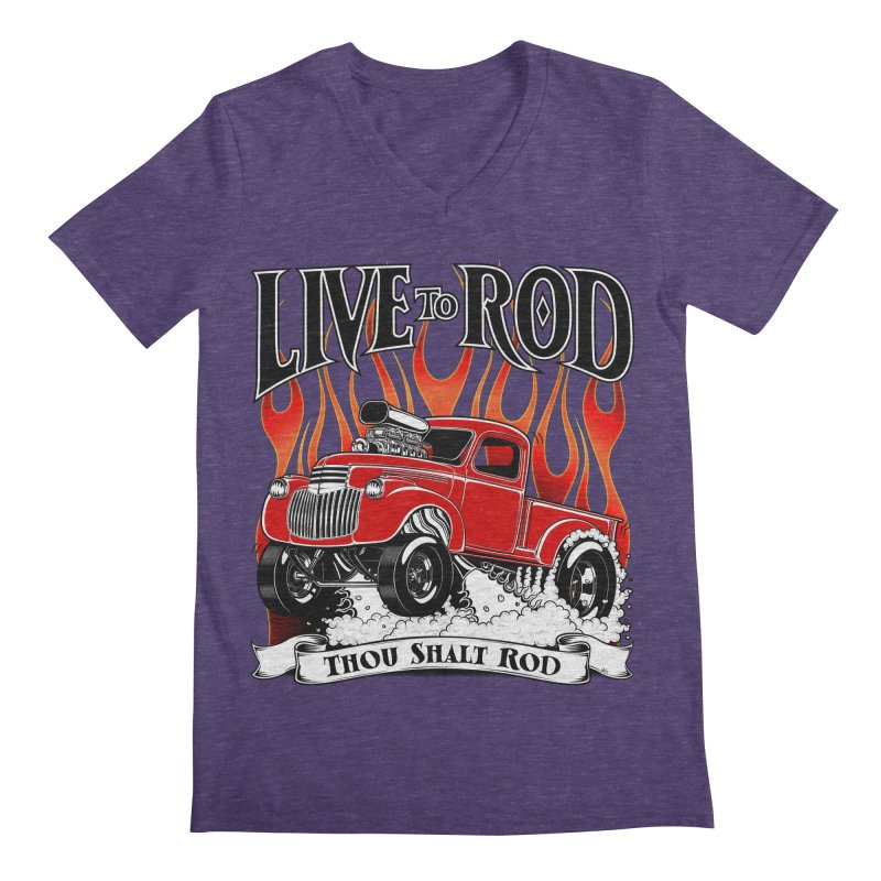 46' Chevy Gasser Pickup - RED Men's V-Neck by screamnjimmy's Artist Shop