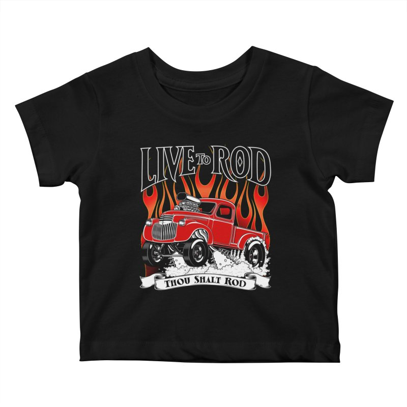 46' Chevy Gasser Pickup - RED Kids Baby T-Shirt by screamnjimmy's Artist Shop
