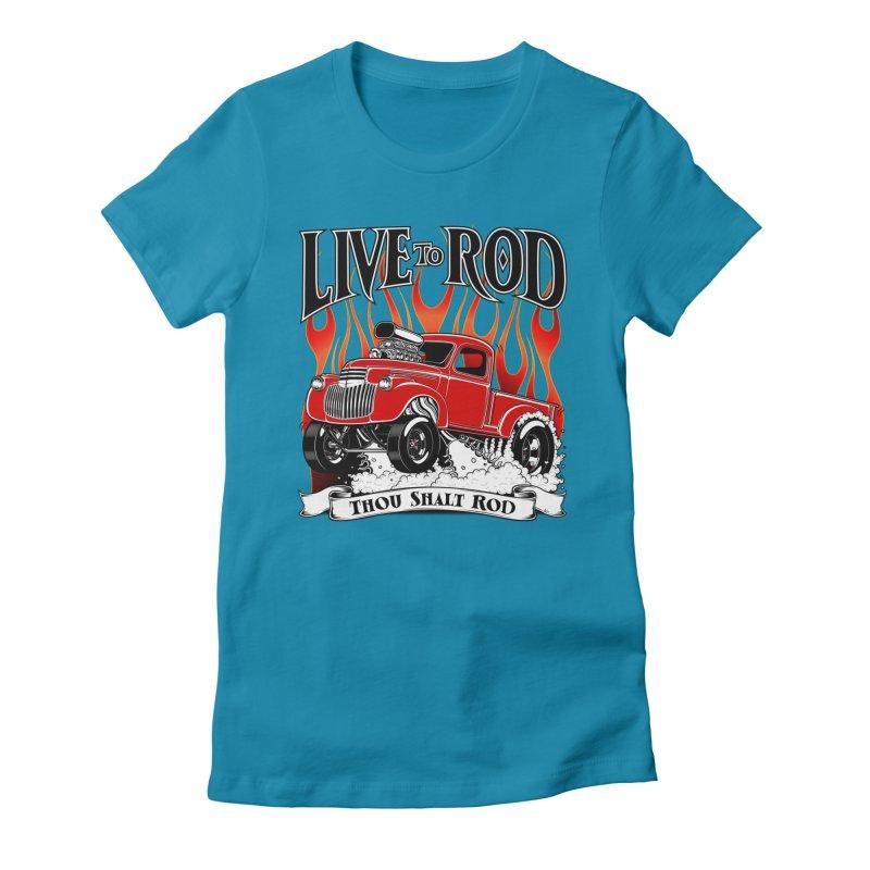 46' Chevy Gasser Pickup - RED Women's T-Shirt by screamnjimmy's Artist Shop