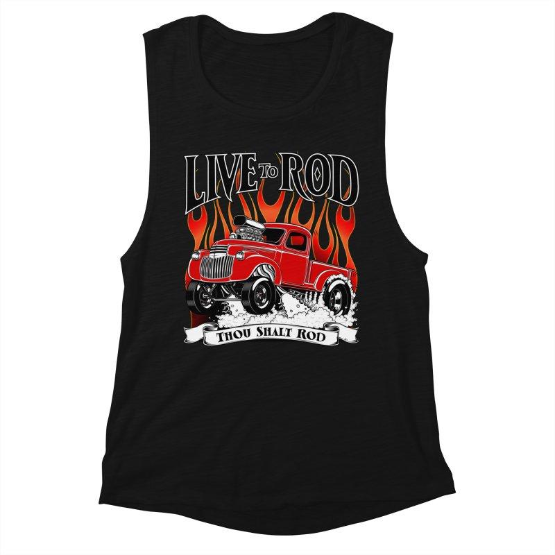 46' Chevy Gasser Pickup - RED Women's Muscle Tank by screamnjimmy's Artist Shop