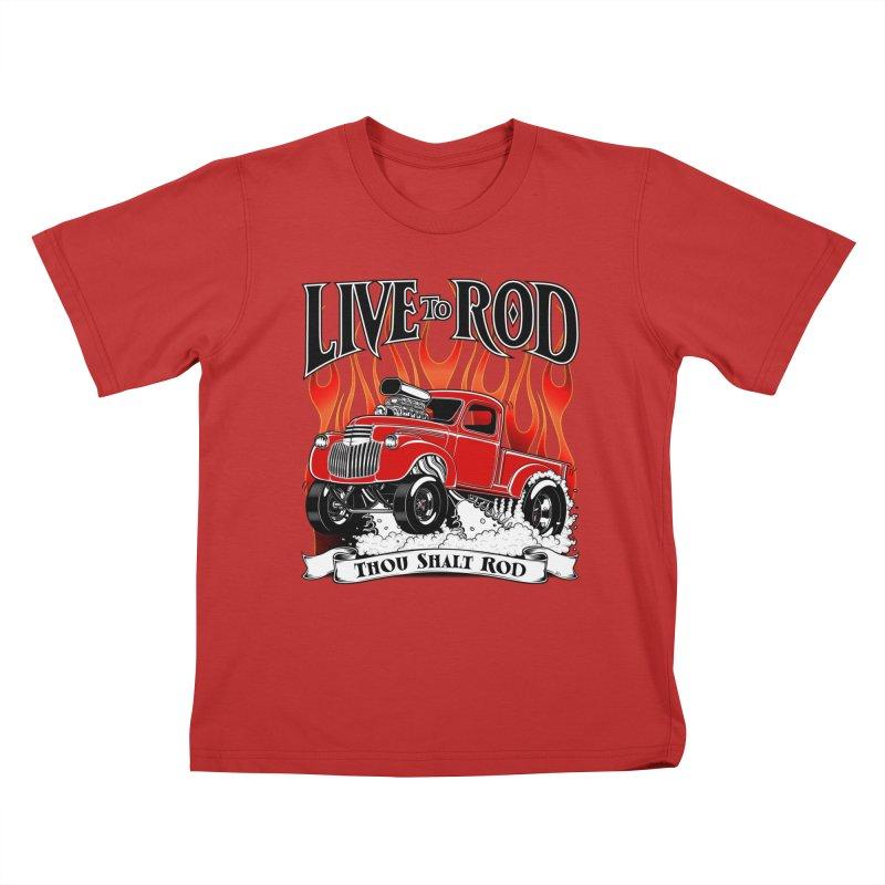 46' Chevy Gasser Pickup - RED Kids T-Shirt by screamnjimmy's Artist Shop