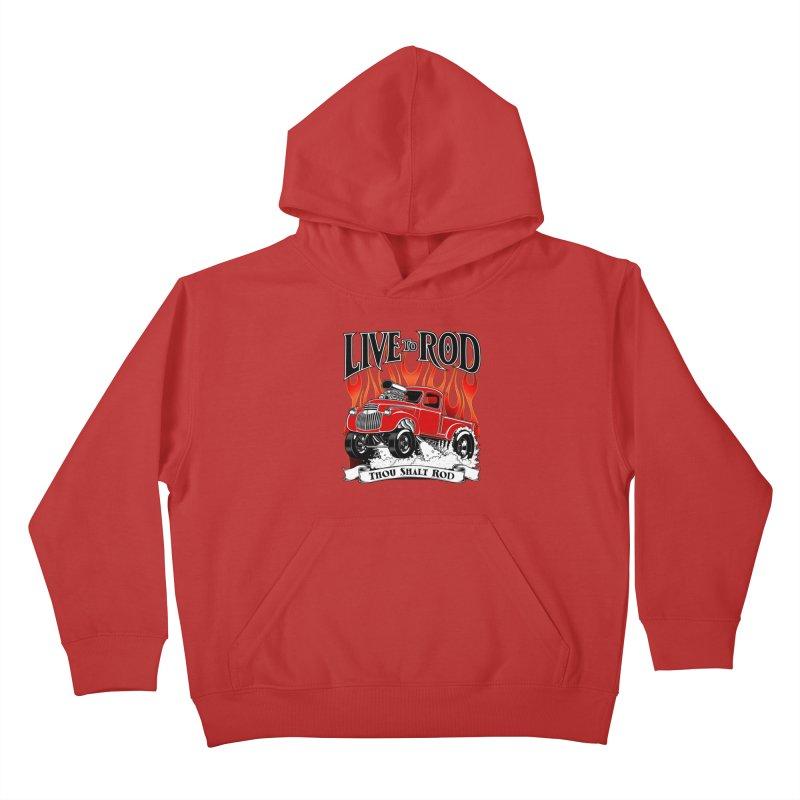46' Chevy Gasser Pickup - RED Kids Pullover Hoody by screamnjimmy's Artist Shop