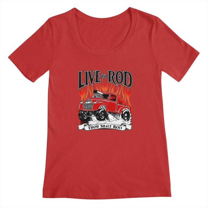 46' Chevy Gasser Pickup - RED Women's Regular Scoop Neck by screamnjimmy's Artist Shop