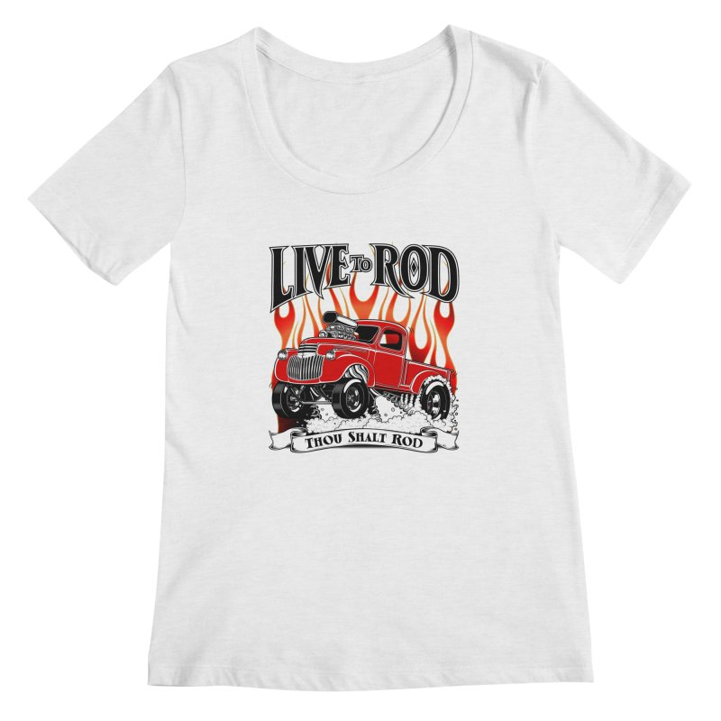46' Chevy Gasser Pickup - RED Women's Regular Scoop Neck by screamnjimmy's Artist Shop