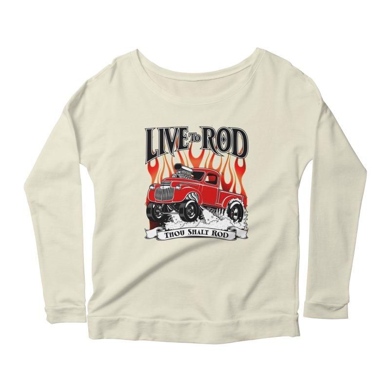 46' Chevy Gasser Pickup - RED Women's Scoop Neck Longsleeve T-Shirt by screamnjimmy's Artist Shop