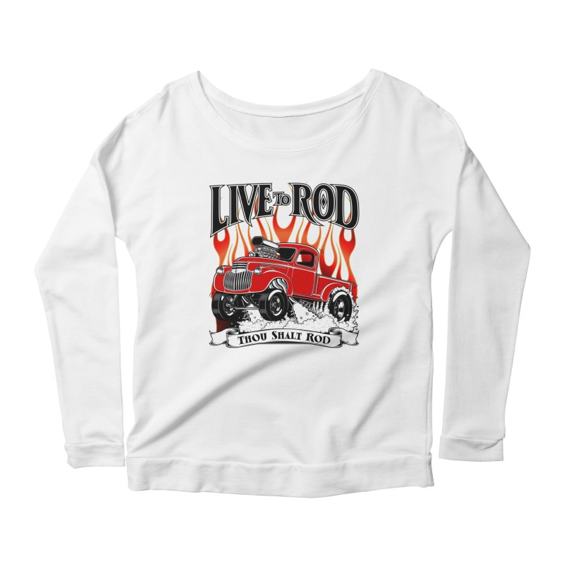 46' Chevy Gasser Pickup - RED Women's Longsleeve Scoopneck  by screamnjimmy's Artist Shop