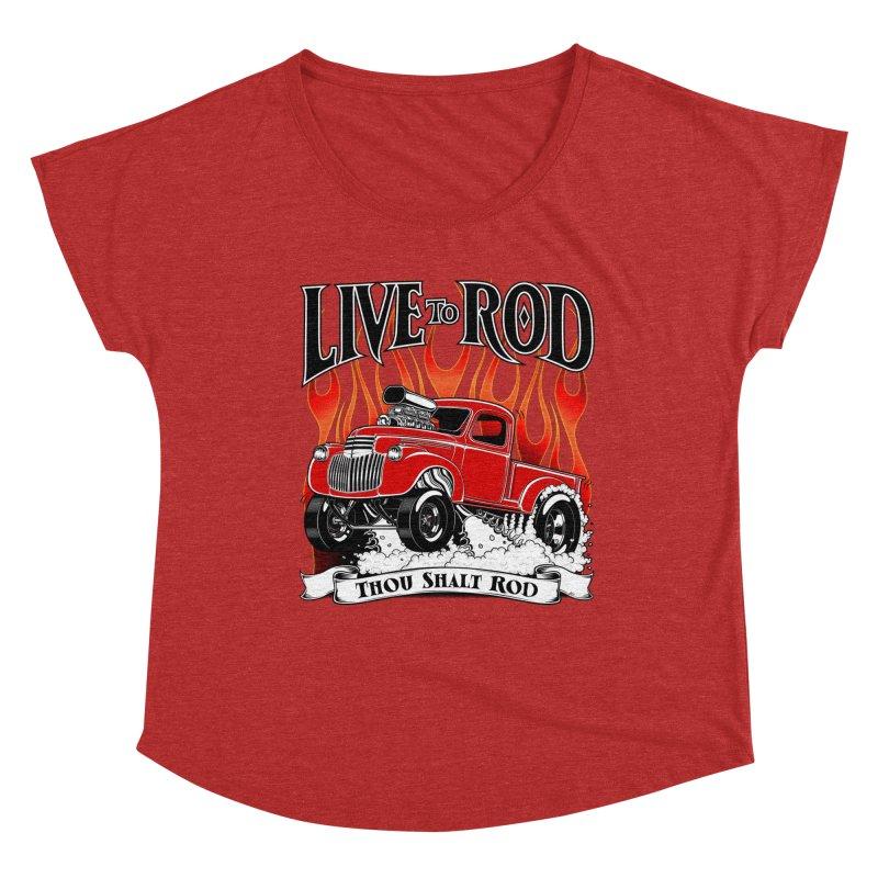 46' Chevy Gasser Pickup - RED Women's Dolman Scoop Neck by screamnjimmy's Artist Shop