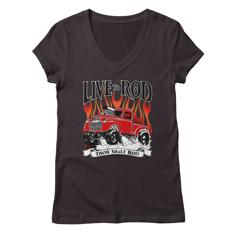 46' Chevy Gasser Pickup - RED Women's V-Neck by screamnjimmy's Artist Shop