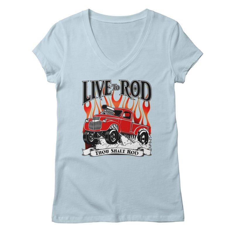 46' Chevy Gasser Pickup - RED Women's Regular V-Neck by screamnjimmy's Artist Shop