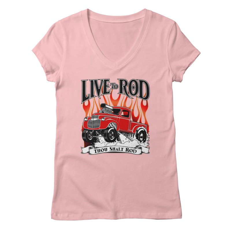 46' Chevy Gasser Pickup - RED Women's V-Neck by screamnjimmy's Artist Shop