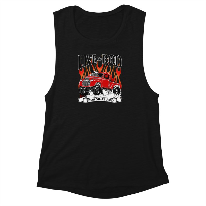 46' Chevy Gasser Pickup - RED Women's Muscle Tank by screamnjimmy's Artist Shop