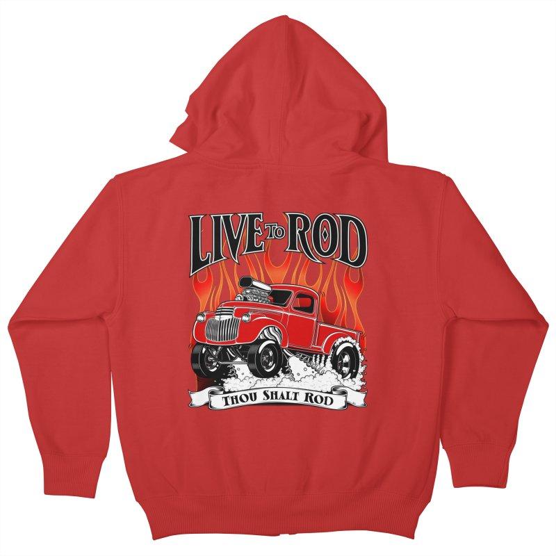 46' Chevy Gasser Pickup - RED Kids Zip-Up Hoody by screamnjimmy's Artist Shop