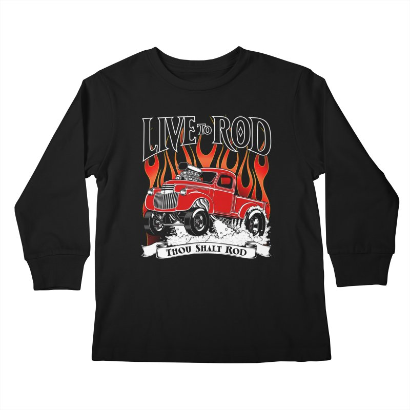 46' Chevy Gasser Pickup - RED Kids Longsleeve T-Shirt by screamnjimmy's Artist Shop