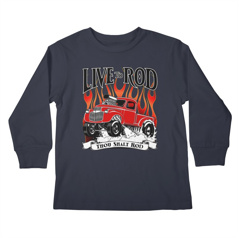 46' Chevy Gasser Pickup - RED Kids Longsleeve T-Shirt by screamnjimmy's Artist Shop