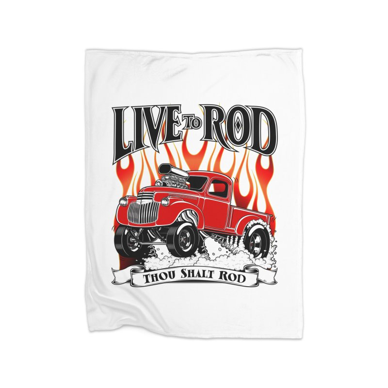 46' Chevy Gasser Pickup - RED Home Fleece Blanket Blanket by screamnjimmy's Artist Shop