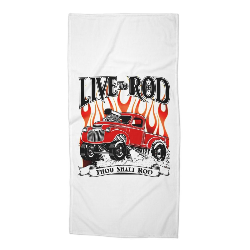 46' Chevy Gasser Pickup - RED Accessories Beach Towel by screamnjimmy's Artist Shop