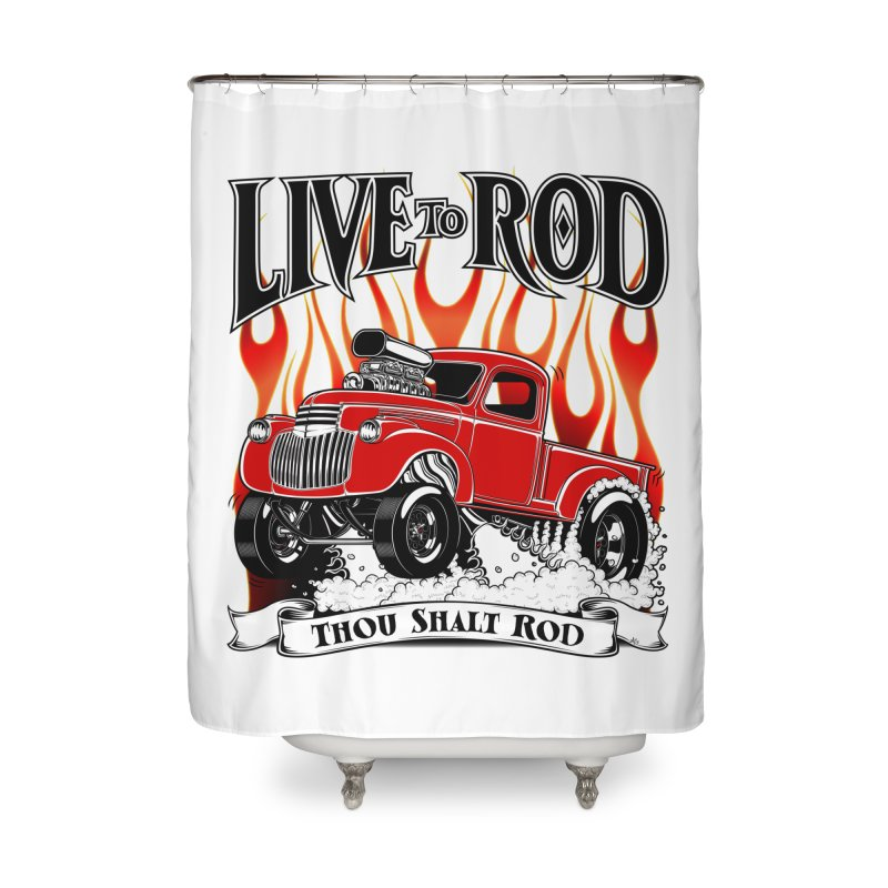 46' Chevy Gasser Pickup - RED Home Shower Curtain by screamnjimmy's Artist Shop