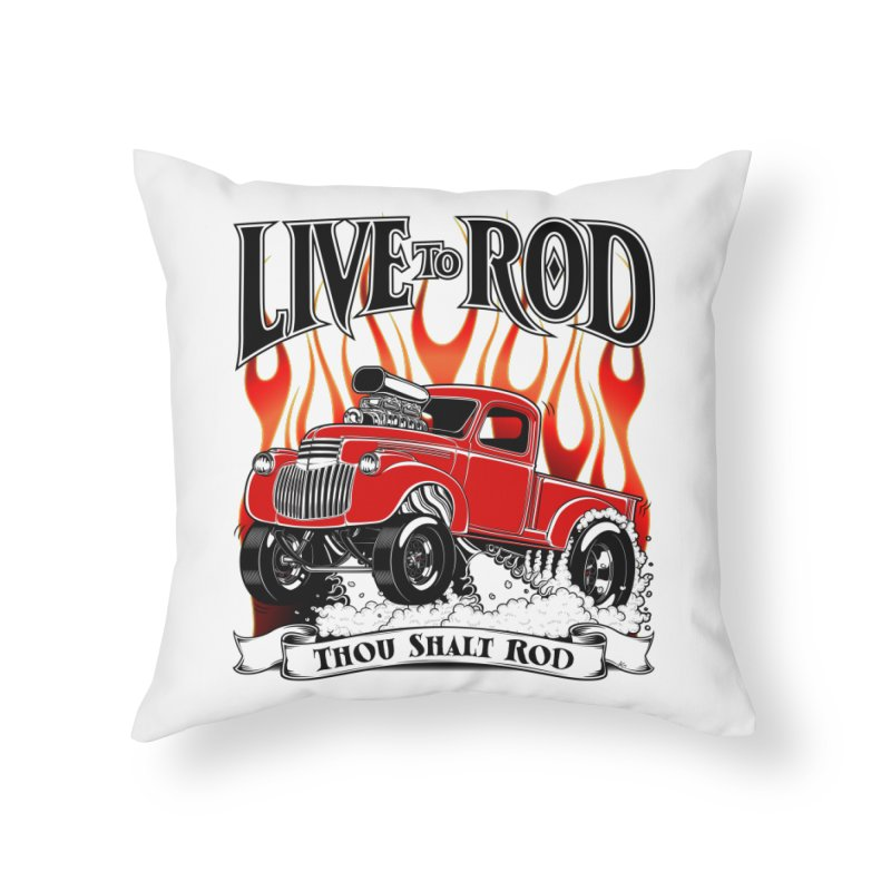 46' Chevy Gasser Pickup - RED Home Throw Pillow by screamnjimmy's Artist Shop