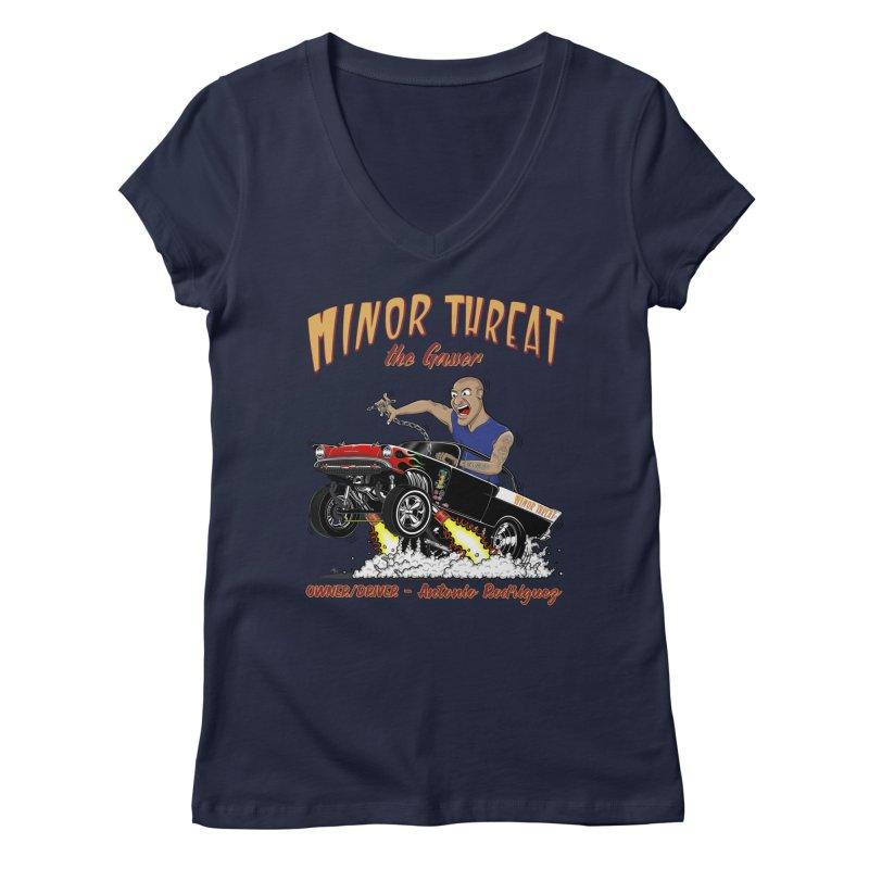 57 Gasser MINOR THREAT, rev 2.0 Women's V-Neck by screamnjimmy's Artist Shop
