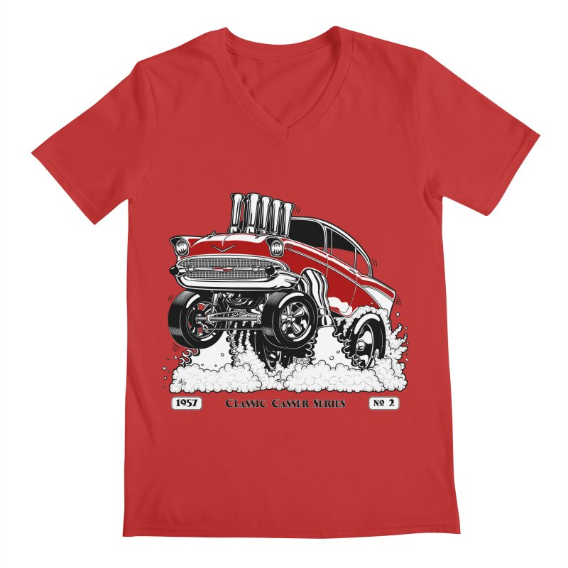 57 Classic Gasser - Clean Red Men's V-Neck by screamnjimmy's Artist Shop