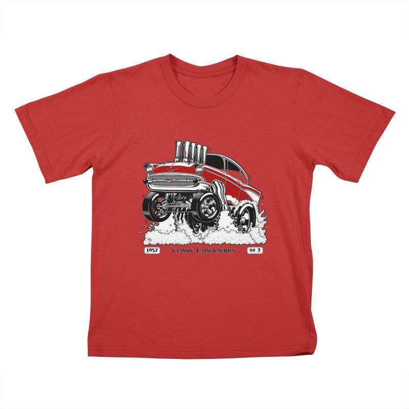 57 Classic Gasser - Clean Red Kids T-Shirt by screamnjimmy's Artist Shop