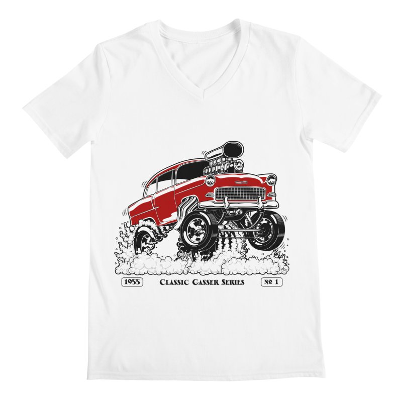 55 Classic Gasser - Clean Red Men's V-Neck by screamnjimmy's Artist Shop