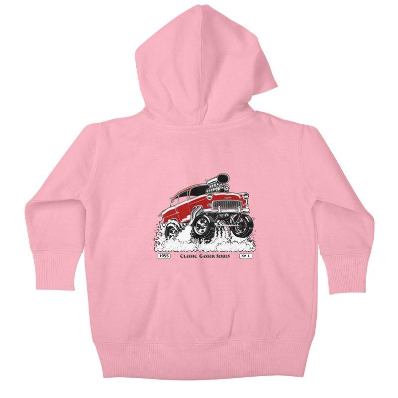 55 Classic Gasser - Clean Red Kids Baby Zip-Up Hoody by screamnjimmy's Artist Shop