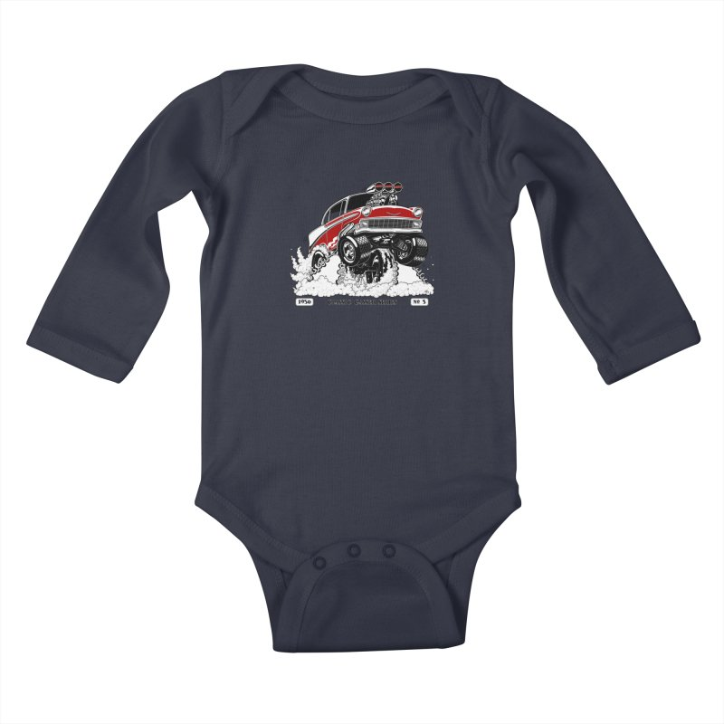 56 Classic Gasser - Clean Red Kids Baby Longsleeve Bodysuit by screamnjimmy's Artist Shop