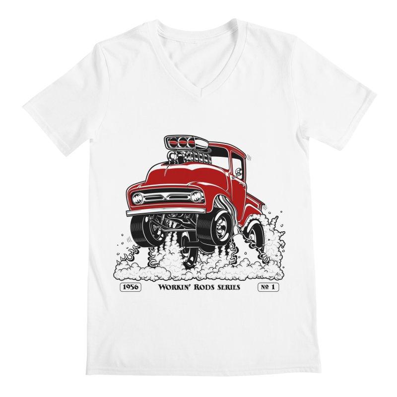 56 F100 Gasser - Clean Red Men's V-Neck by screamnjimmy's Artist Shop