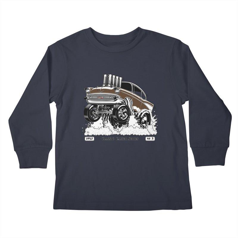 57 Classic Gasser – Clean Brown Kids Longsleeve T-Shirt by screamnjimmy's Artist Shop