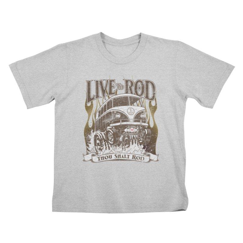 67' Microbus Gasser - Distressed brown Kids T-Shirt by screamnjimmy's Artist Shop
