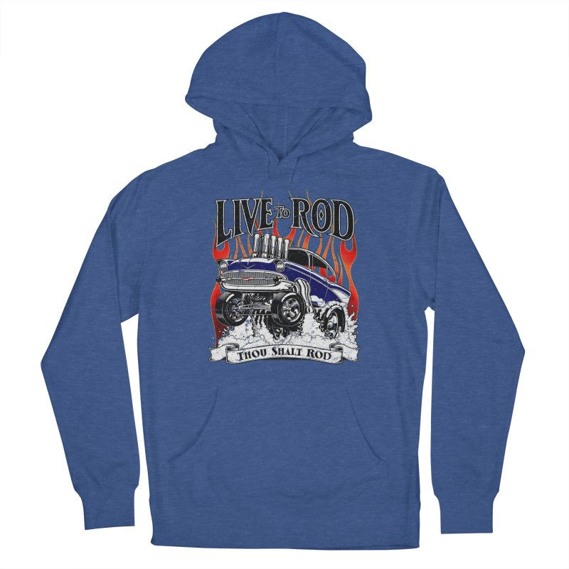 57' Chevy Gasser - Distressed Blue Men's Pullover Hoody by screamnjimmy's Artist Shop