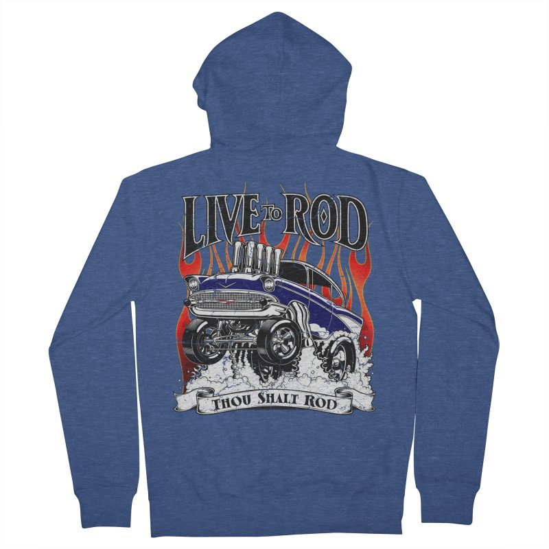 57' Chevy Gasser - Distressed Blue Men's Zip-Up Hoody by screamnjimmy's Artist Shop