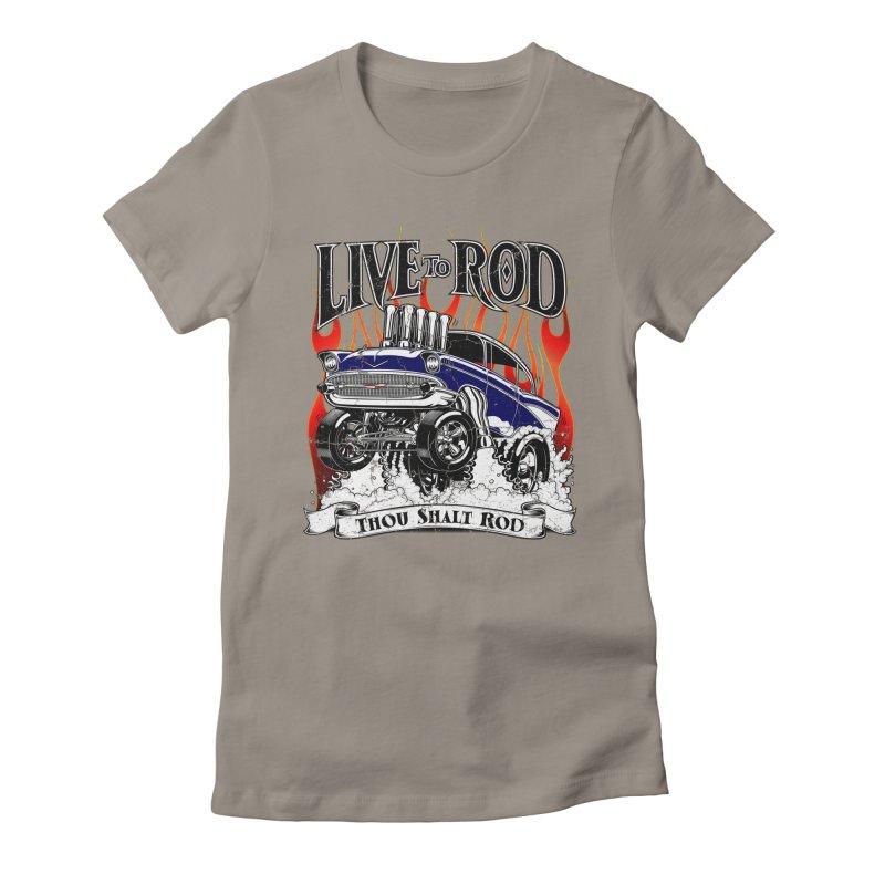 57' Chevy Gasser - Distressed Blue Women's T-Shirt by screamnjimmy's Artist Shop