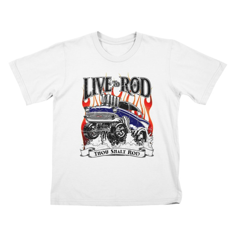 57' Chevy Gasser - Distressed Blue Kids T-Shirt by screamnjimmy's Artist Shop