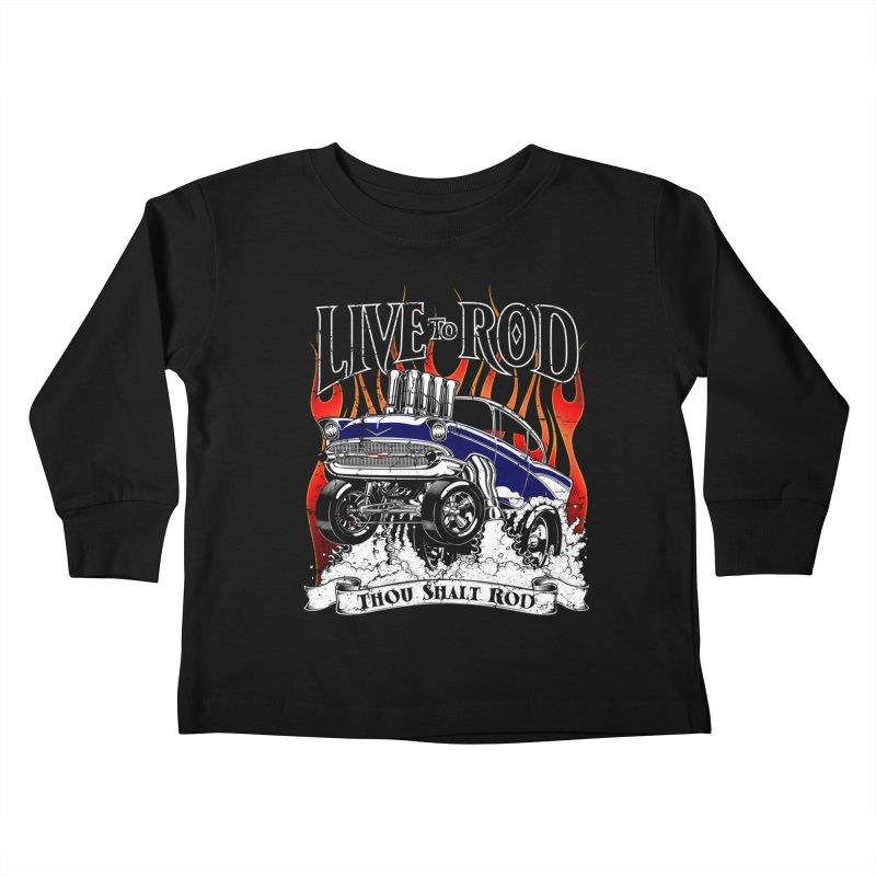 57' Chevy Gasser - Distressed Blue Kids Toddler Longsleeve T-Shirt by screamnjimmy's Artist Shop