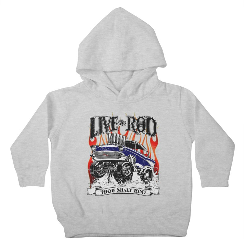 57' Chevy Gasser - Distressed Blue Kids Toddler Pullover Hoody by screamnjimmy's Artist Shop