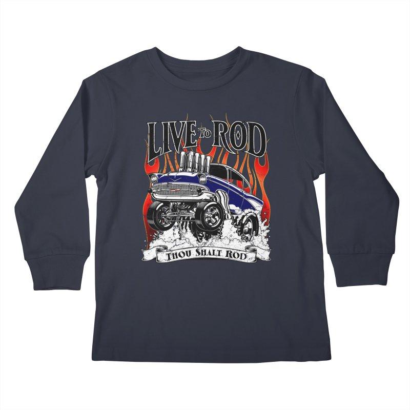 57' Chevy Gasser - Distressed Blue Kids Longsleeve T-Shirt by screamnjimmy's Artist Shop