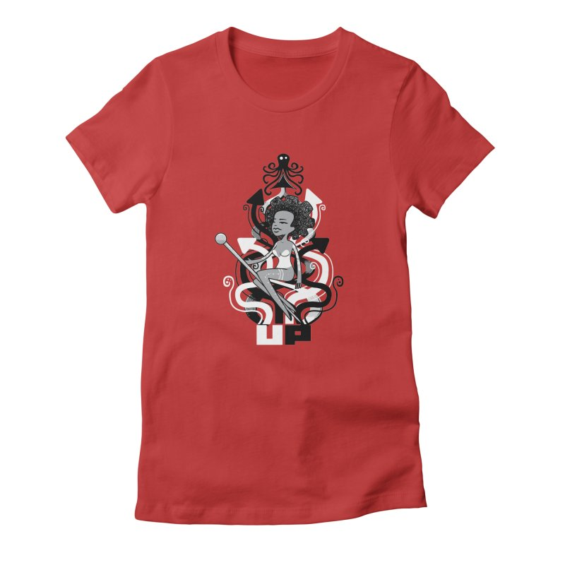 Pin Up in Women's Fitted T-Shirt Red by scribblekid's Artist Shop
