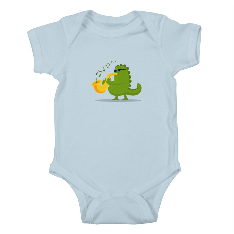 Dino Jazz in Kids Baby Bodysuit Baby Blue by scribblekid's Artist Shop