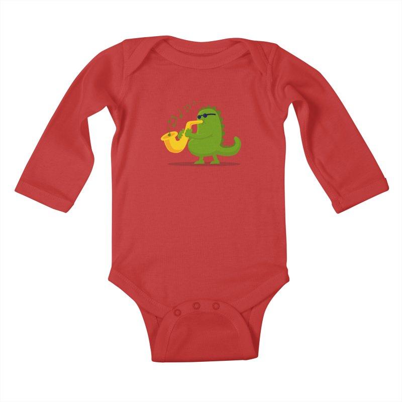 Dino Jazz Kids Baby Longsleeve Bodysuit by scribblekid's Artist Shop
