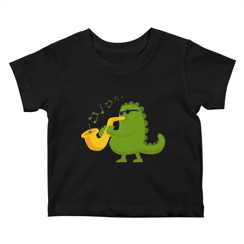 Dino Jazz Kids Baby T-Shirt by scribblekid's Artist Shop