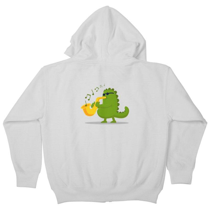Dino Jazz Kids Zip-Up Hoody by scribblekid's Artist Shop