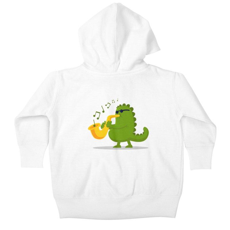 Dino Jazz Kids Baby Zip-Up Hoody by scribblekid's Artist Shop