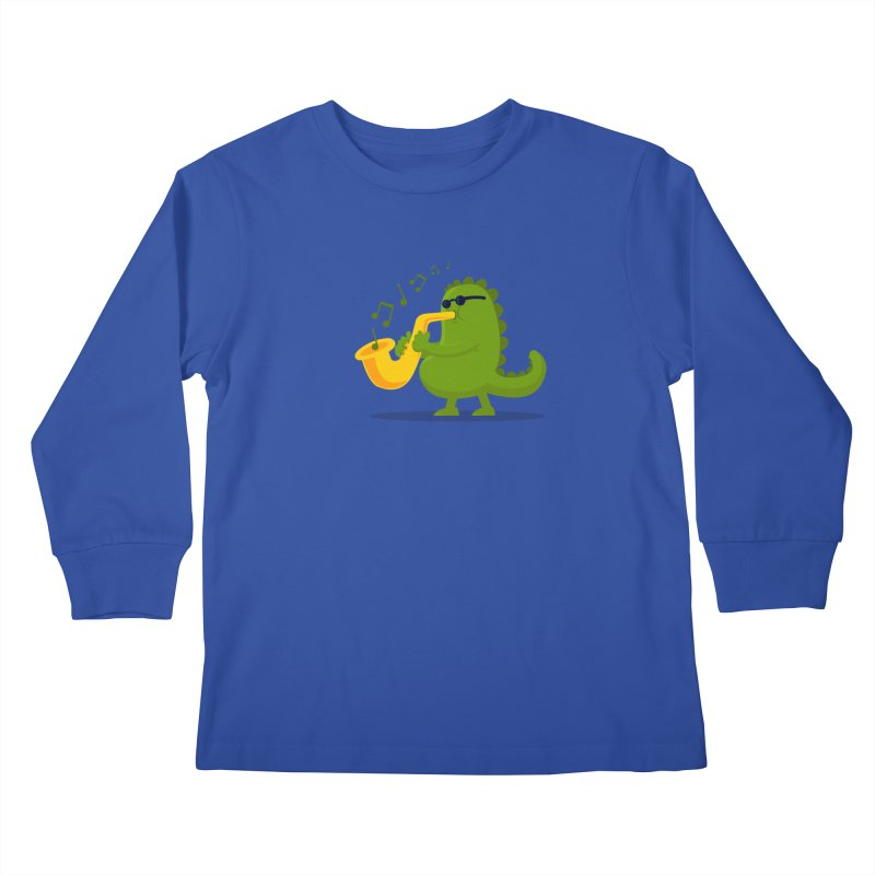 Dino Jazz Kids Longsleeve T-Shirt by scribblekid's Artist Shop