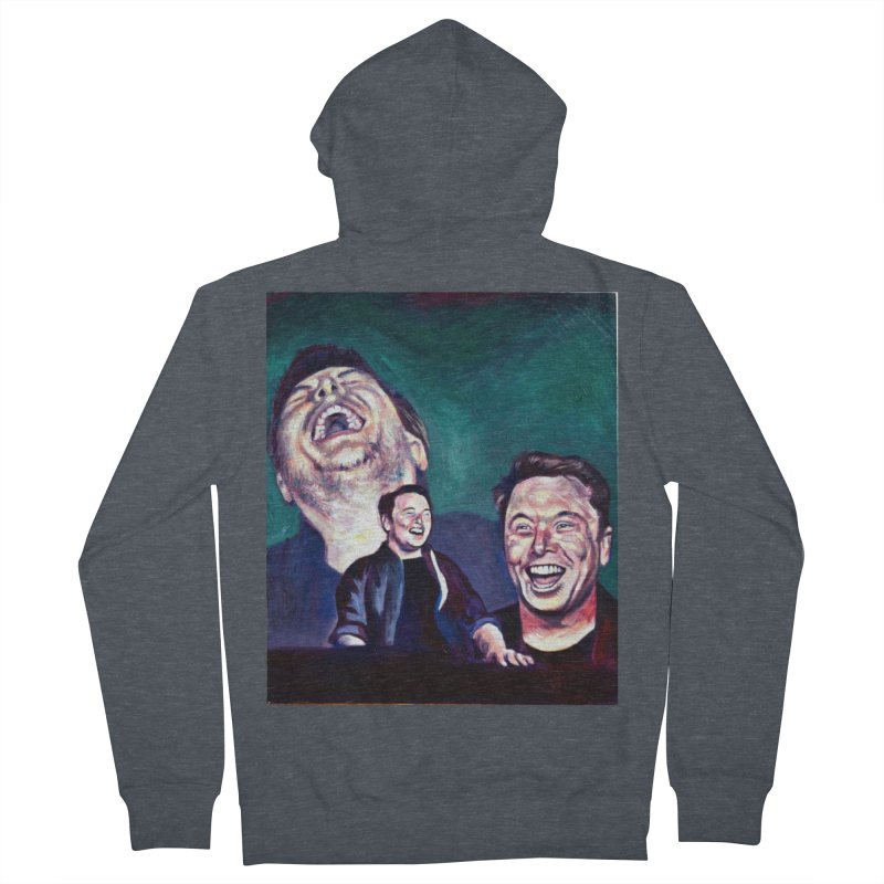 elon4 Men's French Terry Zip-Up Hoody by paintings by Seamus Wray
