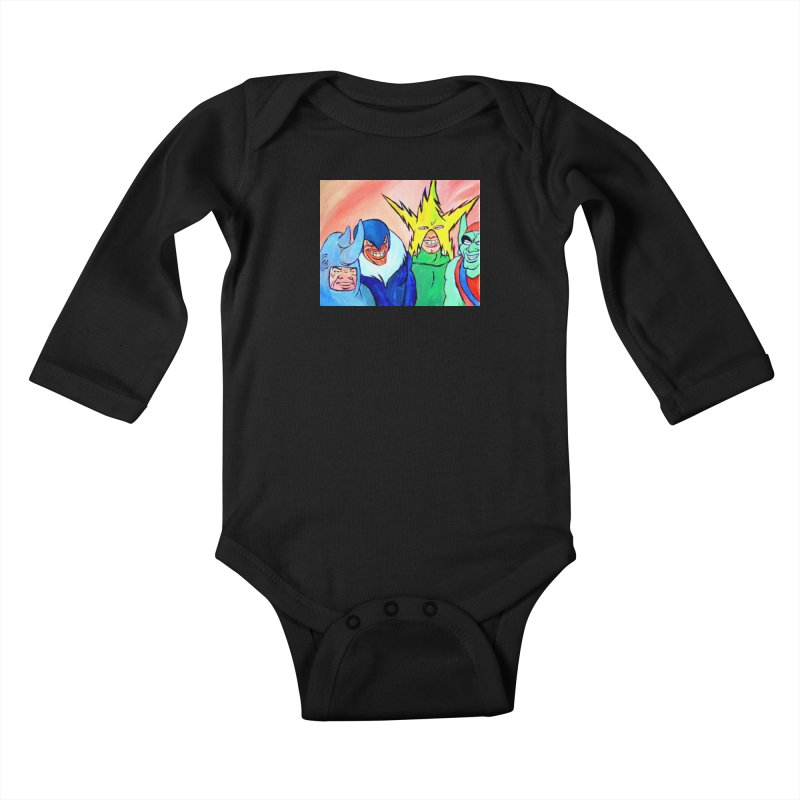 me and the boys Kids Baby Longsleeve Bodysuit by paintings by Seamus Wray
