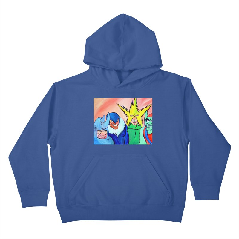 me and the boys Kids Pullover Hoody by paintings by Seamus Wray
